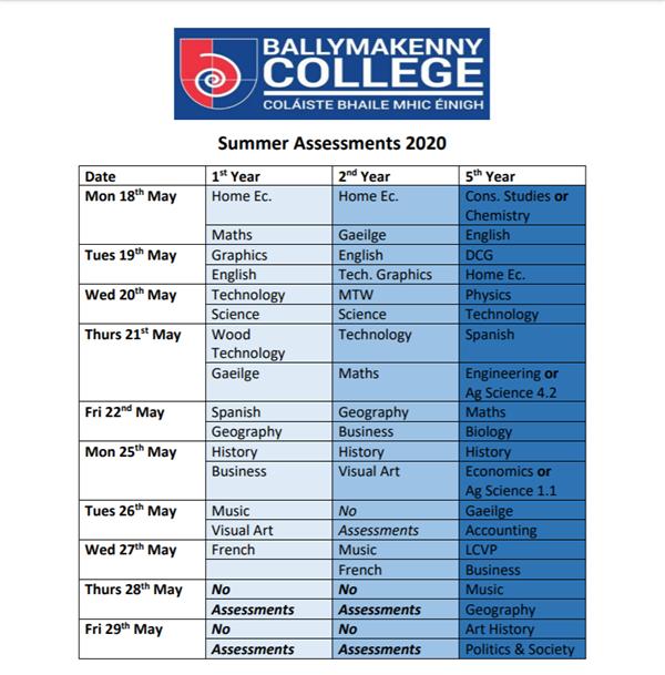 Summer Assessment Timetable 2020