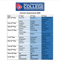 Summer Assessment Timetable 2020